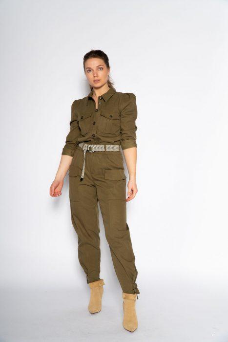 Co'Couture pocket pant Elle in een mooi army kleur met opgestikte zakken