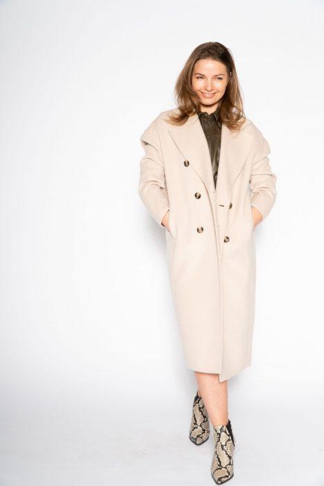 Oversized jas van American Vintage style Dadoulove in een mooie beige tint