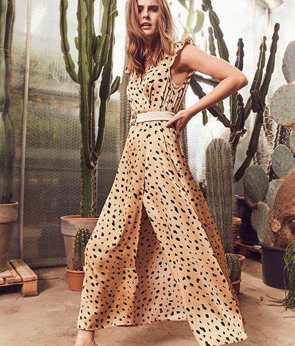 Lange wikkeljurk van Co'Couture style texas in bed kleur nugget met animal print