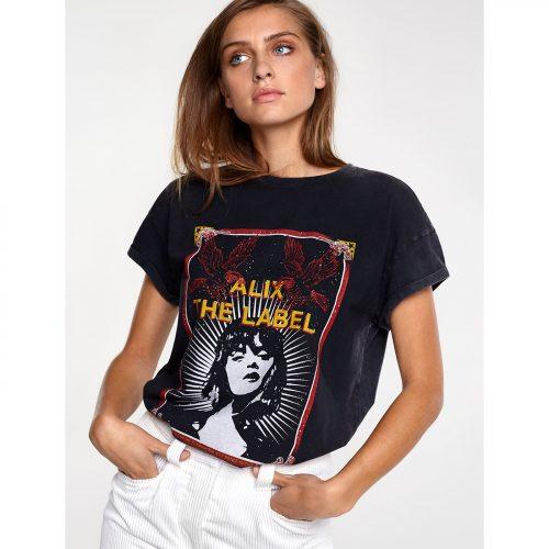 Verwassen zwart shirt met movie print van ALIX THE LABEL